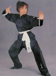 Chinese black Kung Fu uniform with white sleeves and black buttons.