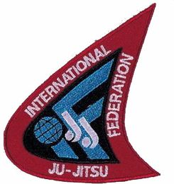 Kangasmerkki International Ju-Jutsu Federation, koko 10 cm x 7 cm