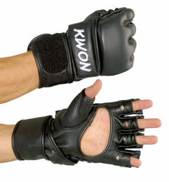 KWON Ultimate Grappling gloves, real leather, black, sizes: S-XXL