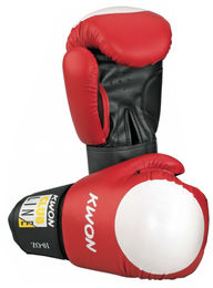 KWON Club Line Pointer Boxing gloves, red/white target point, 10 oz
