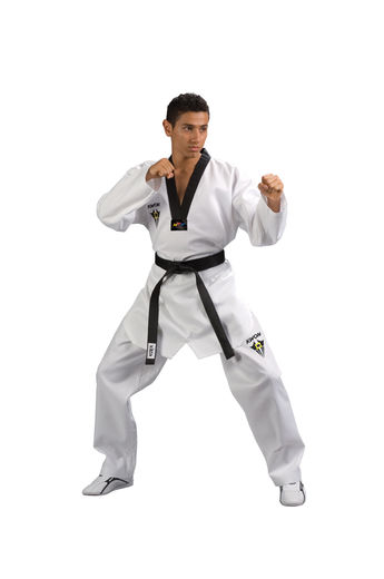 Starfighter TKD Uniform with black lapel, WTF approved, sizes 140 cm - 200 cm