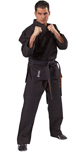 Jiu-Jitsu uniform, elastic waistband, black, 12 oz