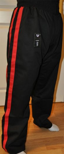 NUKE's Training pants, 10 oz, black with red stripes, sizes: 140 cm - 210 cm