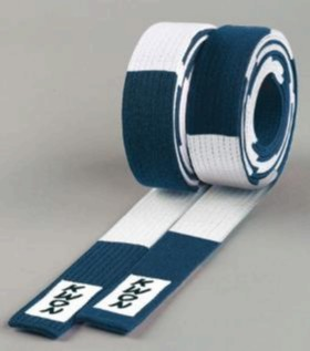 KWON Budo Belts, Junior, blue/white, sizes: 240 cm - 320 cm