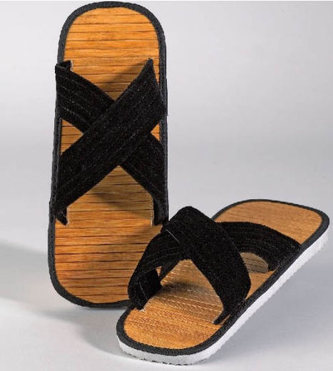 Zori-sandals (thong) with bambu-wooden solum, sizes 36 - 47