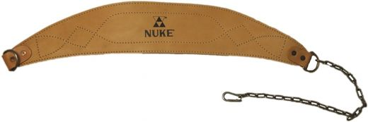 NUKE Dip belt, real leather + chain, brown