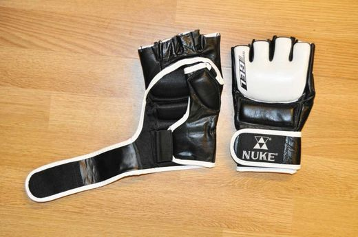 NUKE Gel MMA-Gloves (grappling), real leather, black/white, sizes: S-XL