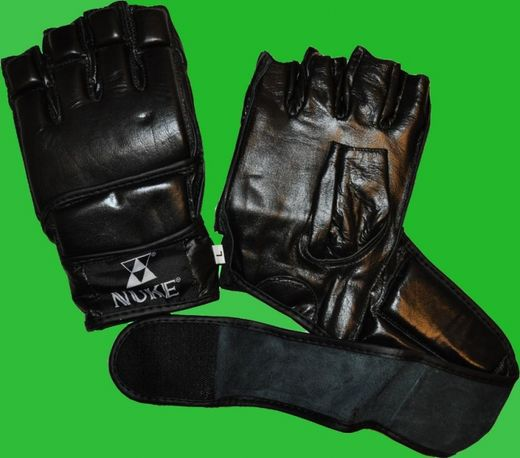 NUKE MMA Grappling gloves, leather, black, sizes: S-XXL