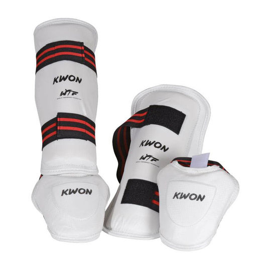 WTF Shin-Instep Guards EVOLUTION CE, White, Sizes XS-XL