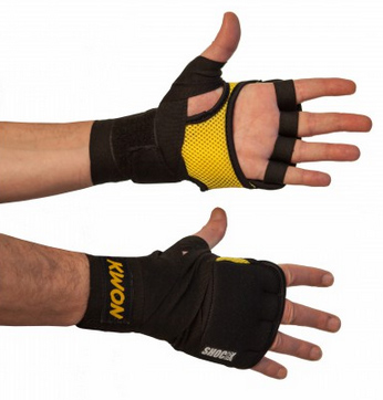 KWON Fusion Gel Wrap/Inner Glove, 6 mm padding, black/yellow, size: Senior