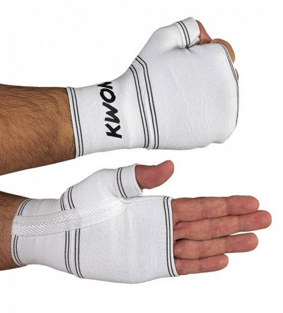 KWON Support Glove for boxing, open fingers, white, one size