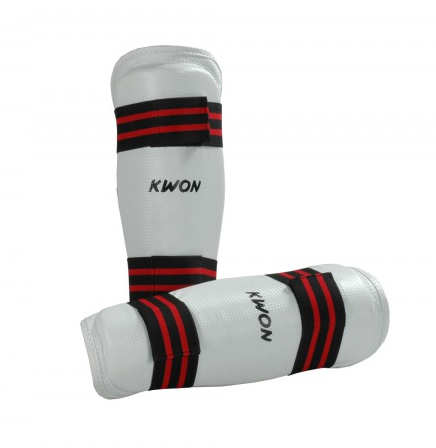 KWON WTF-approved Shin guard, white with red and black stripes, sizes: XS-XL