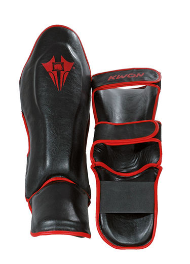 KWON Contender Shin/Instep guard, artificial leather, black, sizes XS - XL