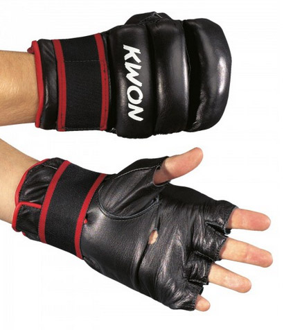 KWON Grappling/punch bag gloves, real leather, red/black, one size