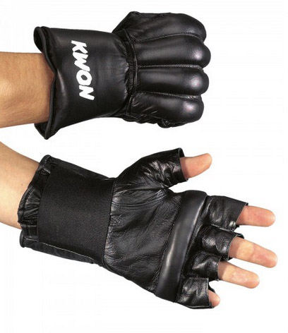KWON Punch bag gloves, real leather, open fingers, black, sizes: S-L