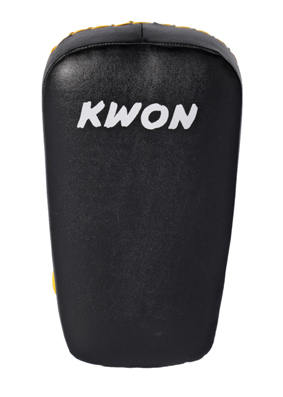 KWON Muay Thai Arm Shield, real leather, black/yellow, size: 38 x 18 x 9cm