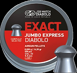 JSB Diabolo Exact Jumbo Express 5,52mm(.22 Cal), 14.35 Grains, Domed, 500ct