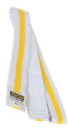 Club Line Soft Budo Belts, 4 cm wide, white/yellow/white, sizes: 160 cm - 280 cm