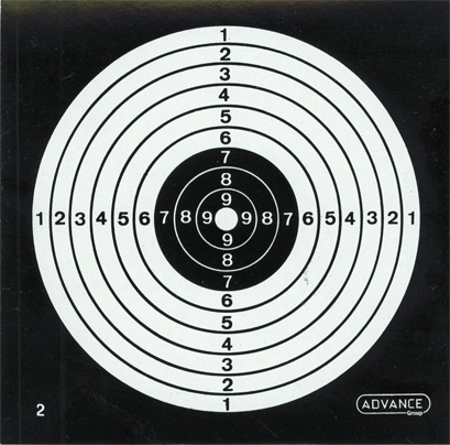 Air pistol target Advance 10-ring (pack of 100) 14x14 cm