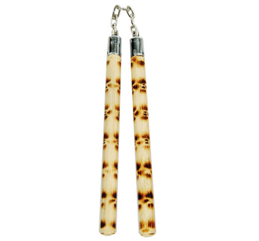 Nunchaku, rattan, marbled with a chain, natural + Tiger style 12""