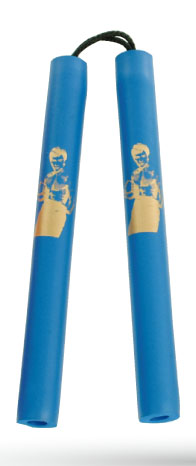 "Nunchaku soft 12"", with string, blue + Bruce Lee image"