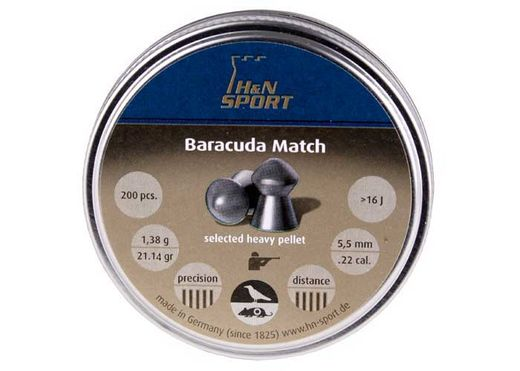 "H&N Baracuda Match .22 Cal, 21.14 Grains, Round Nose, 200ct , Caliber - 0.22"", Qty - 200, Weight: 21.14 grains"