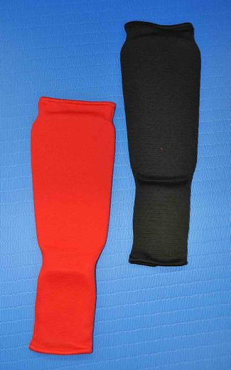 NUKE Shin and instep guard, foam rubber layer, black and red, sizes: S - L