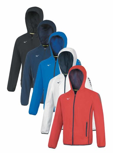Mizuno Team Jacket with hood, several colors, sizes XXS - XXXL