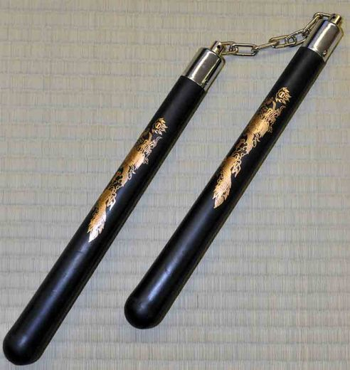 Nunchaku hardrubber 12'' B.B. ball bearings, black + dragon picture