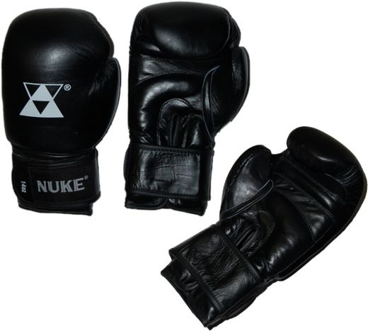 NUKE Boxing Gloves, real leather, black, 10-16 oz