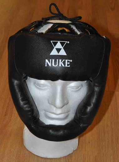 Nuke Boxing-headguard with cheek guards, Artificial leather, black,  Sizes: S – L