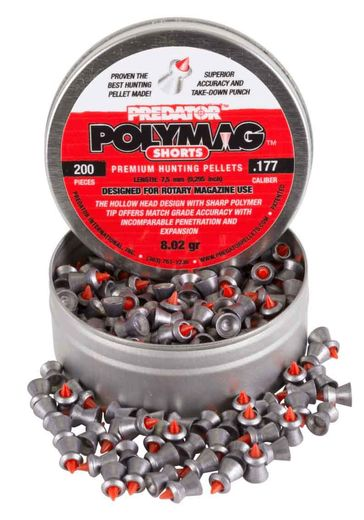 Predator Polymag Shorts, .177 Cal Pellets, 8.02 Grains, Pointed, 200ct