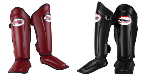 TWINS Shin guards SGL-10, skintex-leather, black, sizes S - L