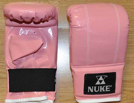 Nuke bag gloves artificial leather color pink, sizes XS - M