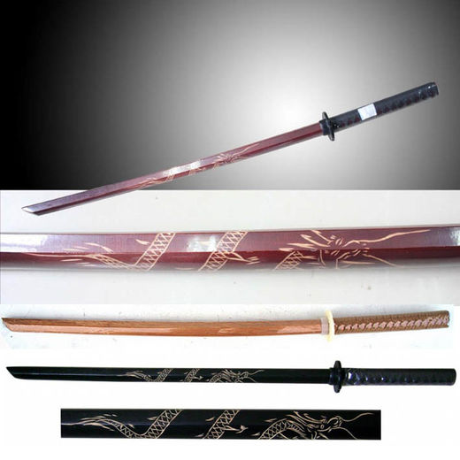 "Bokken, red oak, twined handle, 96 cm/38,0"" + tsuba"