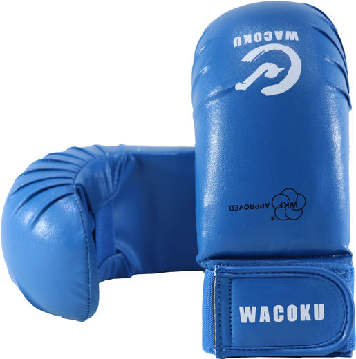Wacoku Karate Hand protector, WKF aprroved, blue, sizes: XS-L