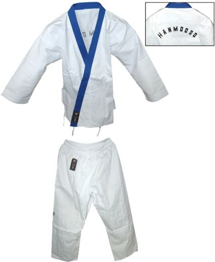 Han Moo Do uniform, white with blue collar, sizes: 150 cm - 190 cm