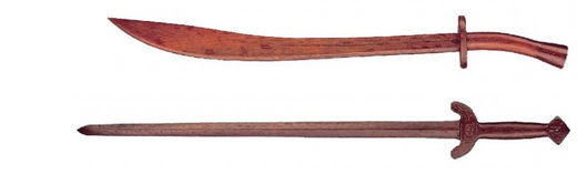 KWON Tai-Chi/Kung-Fu swords, red oak, 80 cm & 85 cm