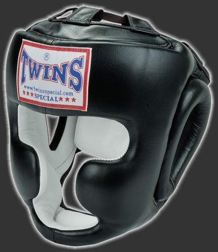 TWINS HGL3 Head guard with cheek guards, leather, black, sizes: S-XL